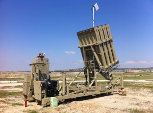 Iron Dome surface-to-air missiles.
